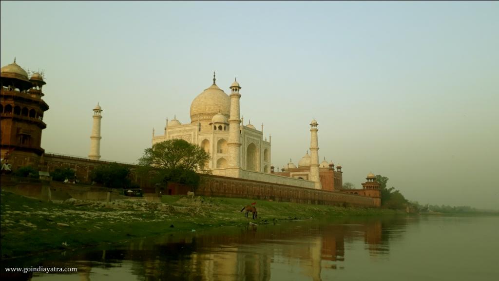 taj mahal view from river side, goindiayatra blog